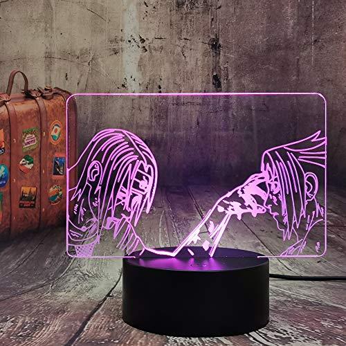 Anime Naruto Light Itachi Uchiha & Uchiha Sasuke Classic - Lámpara de mesa LED 3D con ilusión óptica USB Touch mando a distancia Naruto Lampara juvenil dormitorio decoración infantil