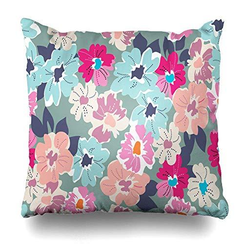 Funda de almohada con diseño de flores de color rosa, diseño floral, moderno, verano, azul Ditsy Aqua Coral Mod Swatch con cremallera, tamaño cuadrado, 45,7 x 45,7 cm, decoración del hogar