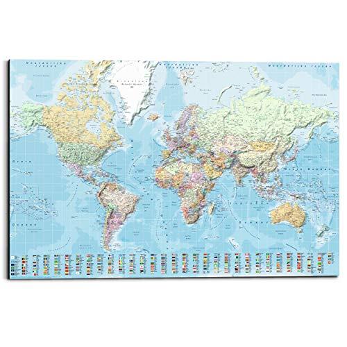Schilderij Deco Panel Wereldkaart Landkaart - Nederlandstalig - 90 x 60 cm
