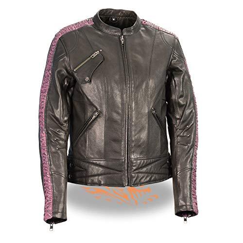 Milwaukee Leather MLL2571 Ladies Lightweight Black and Purple Leather Racer Jacket - Medium