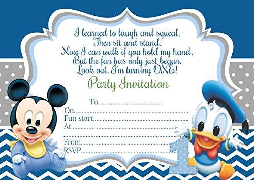 10x Bebé Minnie Mickey Mouse niños fiesta de cumpleaños invitaciones, color with Blue envelopes