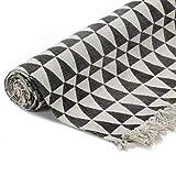 GJEFEGS vidaXL Kelim-Teppich Baumwolle 120x180 cm mit Muster Schwarz/Weiß - 3
