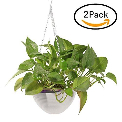 TONGJI Bloempot, hangend, kunststof, 2 stuks, voor tuin, balkon, vensterbank 20 x 20 x 14cm wit