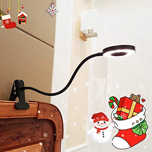 LED Klemmleuchte Bett Leselampe Kleine Schreibtischlampe Klemmlampe Clip Tischlampe 6W Schwarz mit 2 Lichtfarben: Kaltweiß und Warmweiß (Ohne Adapter)