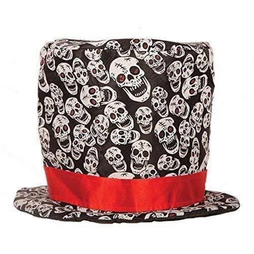 Lively Moments Cylindre/ Halloweenzylinder/ Tête de Mort Chapeau Noir Rouge avec Crânes pour Halloween/Carnaval/Accessoires pour Costumes