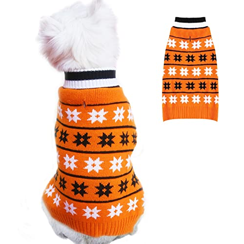 KYEESE Halloween Dog Sweaters for Small Dog Snowflake Dog Turtleneck Knitwear with Leash Hole