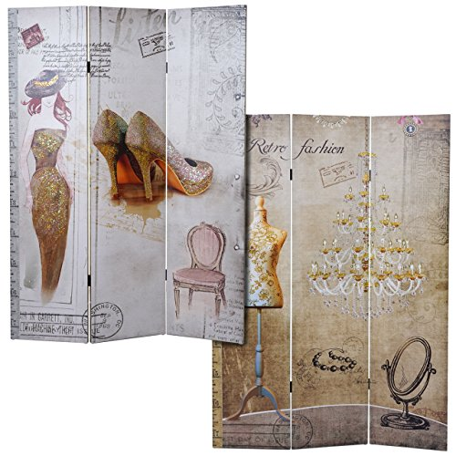 Mendler Foto-Paravent Vintage, Raumteiler Trennwand, Glitzer Retro Fashion ~ 180x120cm
