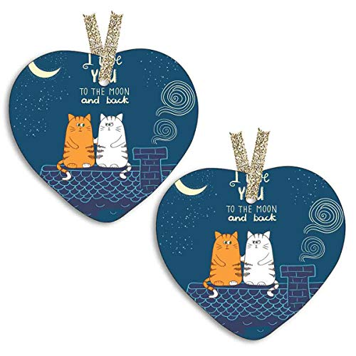 YiiHaanBuy 【2 Pieces! 】 Heart Shaped Ceramic Decoration - Love Valentines Cats on The Roof Under Night Sky Stars Caricature Kitty Boxes,Christmas Decorations,The Best Gifts.