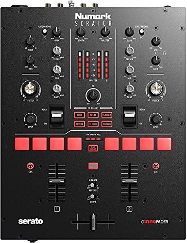 Numark Scratch - Mezclador de DJ, dos canales scratch para Serato DJ Pro, Crossfader Innofader, licencia DVS, 6 selectores de efectos de acceso directo, performance pads, 24 bits calidad de sonido