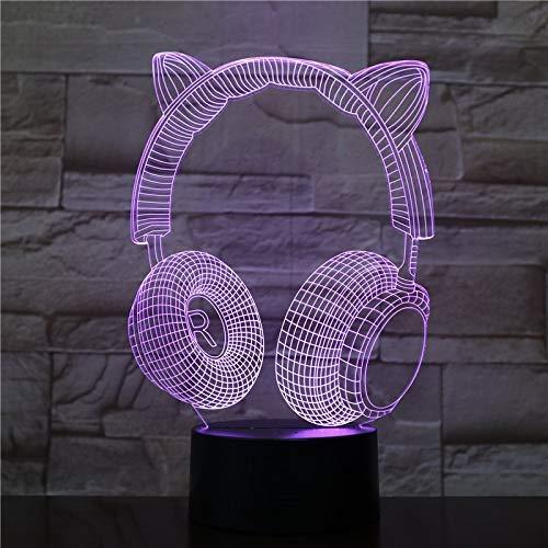 Helm-decoratie, voor thuis, 3D-led, illusie, lief licht, koptelefoon met touch-schakelaar, basis voor kinderen, cadeau, 3D-led-nachtlampje.