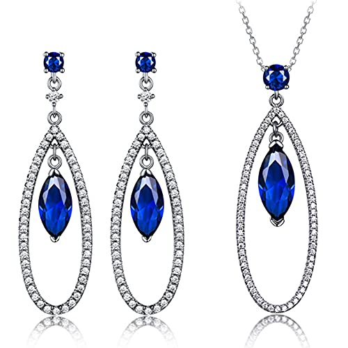 CHXISHOP Conjunto de joyas para mujer de plata de ley 925 con colgante de piedras preciosas de aguamarina y collar de dos piezas de joyería