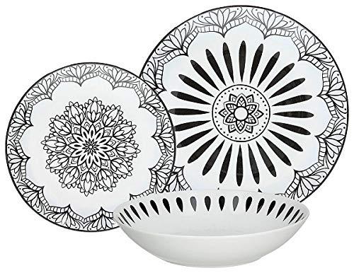 Tognana ME070185582 Mandala Black - Vajilla de porcelana (18 piezas)