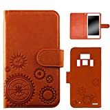 WHITENUTS REGZA PHONE T-01D ケース 手帳型 エンボスデザイン オレンジ/歯車 TC-D0073911/M