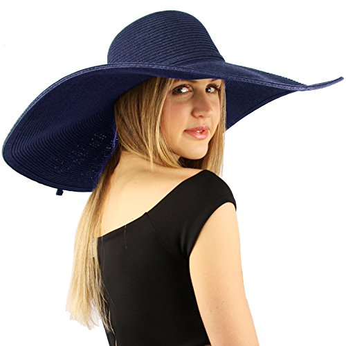 "Summer Elegant Derby Big Super Wide Brim 8"" Brim Floppy Sun Beach Dress Hat Navy"