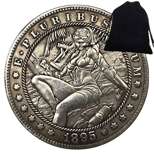 SeTing 1895 Sonnenbrille Mädchen Skizze Hobo Nickel US Old Coins Badge Geschenk - Kreative Gedenkmünze - Amerika Challenge Münze Lustige Münzen + KaiKBax Tasche Permanent Service