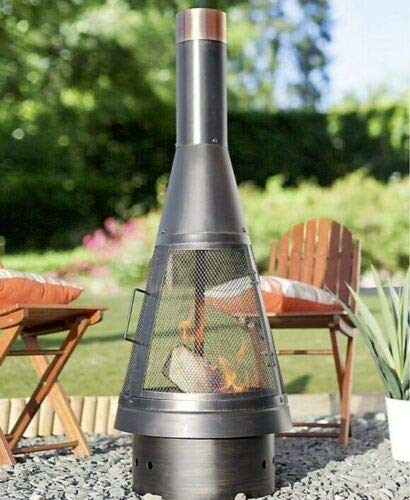 Colorado La Hacienda Modern Streamline Chimenea, Tall Log Burner (Large Garden Patio Heater, Fire Pit Wood Stove BBQ Chiminea)