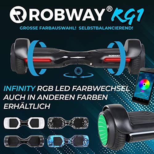 Robway RG1 Hoverboard - Das Original - Self Balance - 11 Farben - Bluetooth - 2 x 350 Watt Motoren - App (Infinity schwarz)