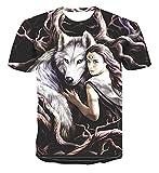 SSBZYES Camiseta De Verano para Hombre Camiseta De Manga Corta para Hombre Camiseta De Gran Tamaño Camiseta con Estampado De Lobo Camiseta De Cuello Redondo Camiseta Estampada Camiseta De Fondo