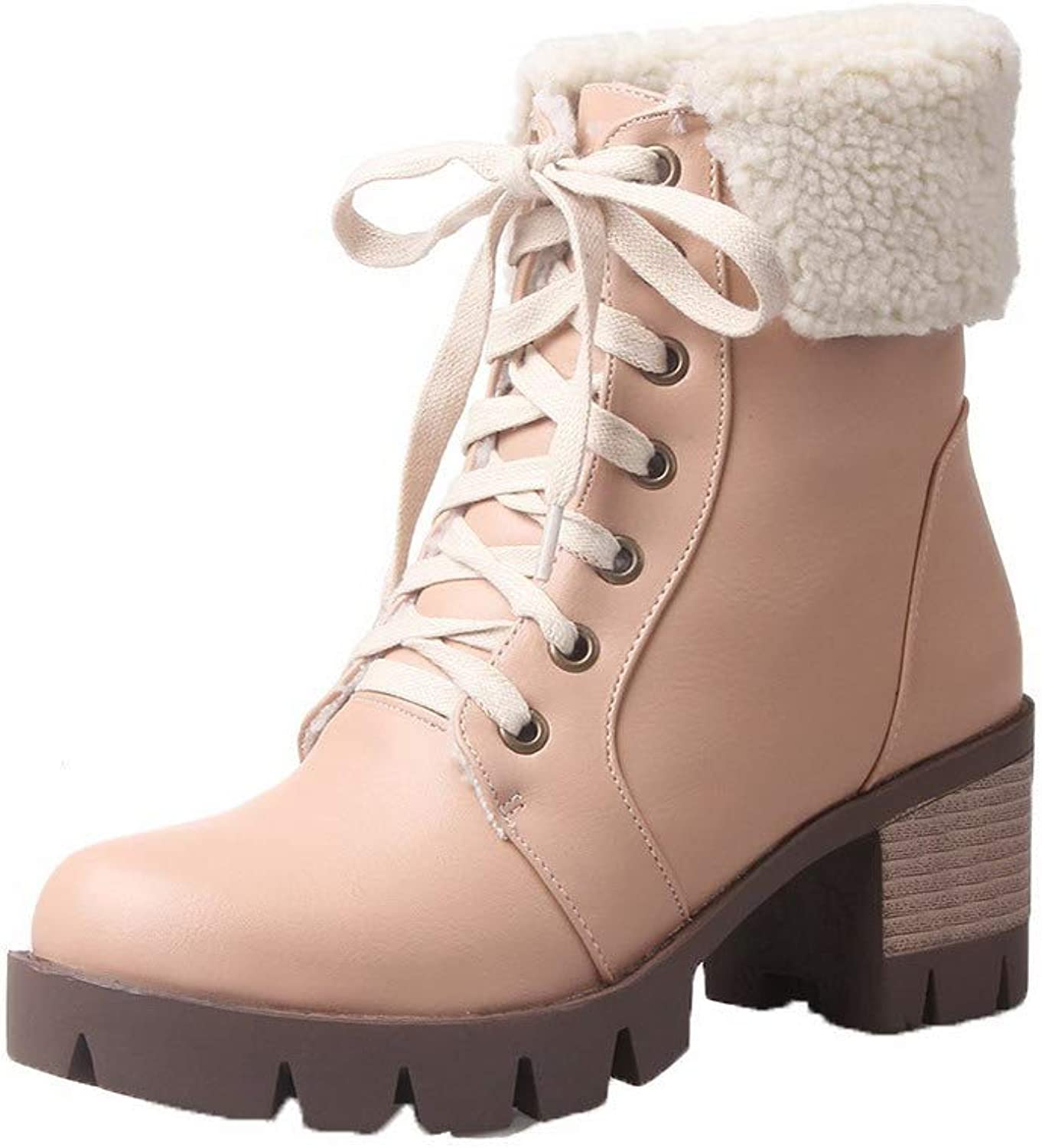 WeiPoot Women's Kitten-Heels Pu Low-Top Solid Lace-Up Boots, EGHXH114957