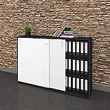 Schiebetürenschrank Sideboard NOVA 3OH 1.640 x 1.085 mm in Anthrazit-Weiß