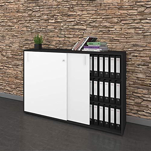 Schuifdeurkast dressoir NOVA 3OH 1.640 x 400 mm in antraciet/wit