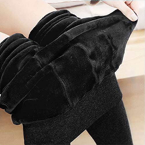 Emooqi Leggings Largas de Invierno para Mujer, Pack de 2 Leggings Cintura Alta, Leggings Térmicos Calientes con Forro Polar, Leggings Pantalones Mallas Elásticos, L, Negro + Gris