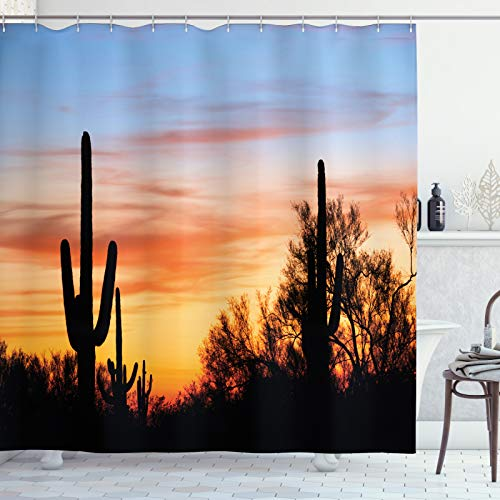 ABAKUHAUS Western Duschvorhang, Wüsten-Kaktus Wild West, aus Stoff inkl.12 Haken Digitaldruck Farbfest Langhaltig Bakterie Resistent, 175x200 cm, Orange & Schwarz