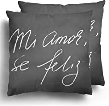 Throw Pillowcase Covers Set of 2 Chalk Spanish Valentines Day Phrase Blackboard Chalkboard My Love I M Happy Mi Amor Se Feliz Text Each Word Cushion Pillows Case for Home Couch Decor 18 x 18 Inches