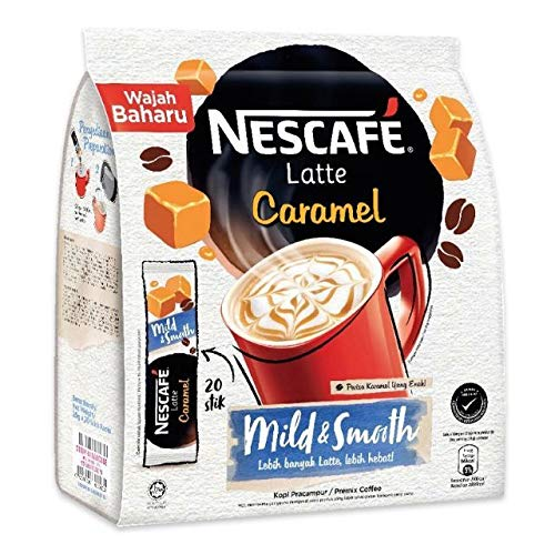 Nescafe 3 in 1 CARAMEL Coffee Latte - Instant Coffee Packets - Single Serve Flavored Coffee Mix (20 Sticks)