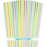 Outside the Box Papers Pastel Chevron Paper Straws 7.75 Inches 100 Pack Pink, Light Blue, Yellow, Green