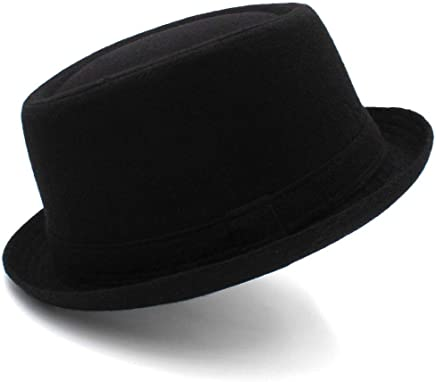2019 Women Wild Black Wool Fedora Hat, Jazz Hat, Gentleman Pork Pie Hat The British Flat Top Dome Hat for Autumn and Winter Women (Color : Black, Size : 56-58CM)