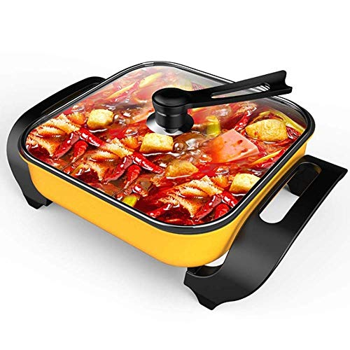 MUBAY Deluxe Multifunktions-Elektro-Topf Mongolian Hot Pot Herd mit No Fume for Heim Non-Stick (Größe: 420x300x200mm 1600W)