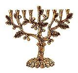 Zion Judaica Hanukkah Menorah Artistic Olive Tree Menorah (Antique Gold)