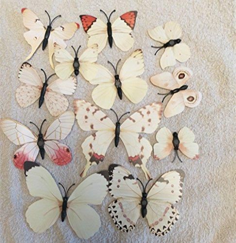 12 unidades de pegatinas magnéticas tridimensionales de PVC en forma de mariposa, decoración del hogar para niños, Blanco, 50 x 70 cm
