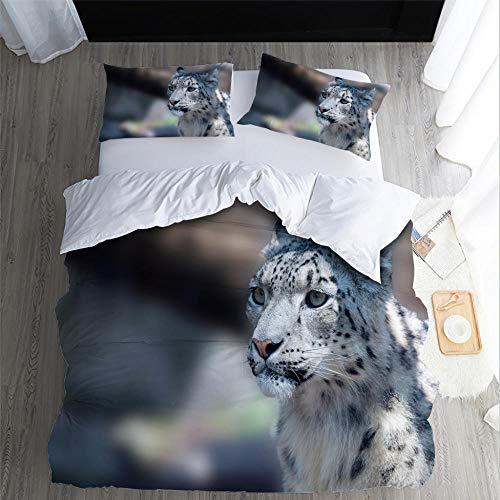 DJDSBJ Duvet Cover Sets, leopard 3D animal printing bedding set for Super king bed 260 * 240cm + 2 pillowcases