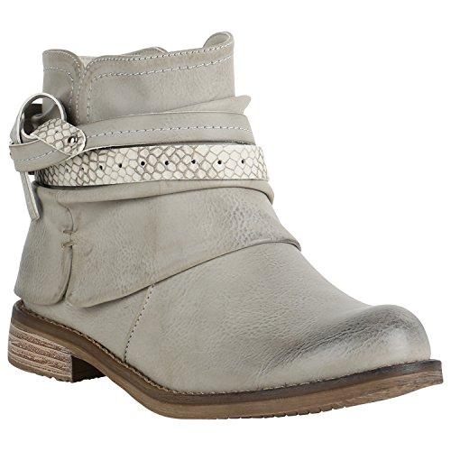 Damen Biker Boots Derbe Stiefeletten Used Look Metallic Schuhe 151473 Grau Metallic 38 Flandell