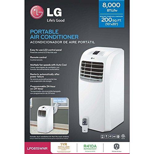LG LP0815WNR Portable Air Conditioner, 115V Cooling Only & Dehumidifier w/Remote - 8,000 BTU