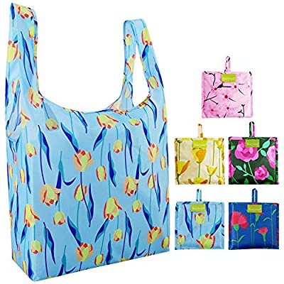 Reusable Grocery Bags Shopping Foldable Flower Flora Ripstop Gift Bags 50LBS Large Nylon Bags Bulk Eco friendly Machine Washable Waterproof Sturdy Rose Tulip Poppy Cherry Blossom Carnation