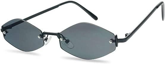SunglassUP - Extremely Small Mini Narrow Frameless Geometric Oval Retro Vintage Sunglasses Unisex