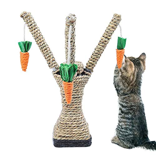 LIZONGFQ Cat Toys Interactive Tree Tower Regale Klettergerüst Cat Scratching Column Straw Rope Mit Cat Tooth Cleaning Chew Radish