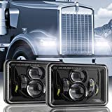 Auxbeam 60W 4x6 LED Headlights with Dot Approved Replacement H4651 H4652 H4656 H4666 H6545 for Peterbilt Kenworth Freightinger Ford Probe Chevrolet Oldsmobile Cutlass Trucks (2Pcs Black)