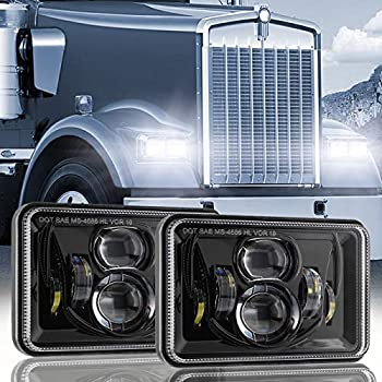 Auxbeam 60W 4x6 LED Headlights with Dot Approved Replacement H4651 H4652 H4656 H4666 H6545 for Peterbilt Kenworth Freightinger Ford Probe Chevrolet Oldsmobile Cutlass Trucks  2Pcs Black