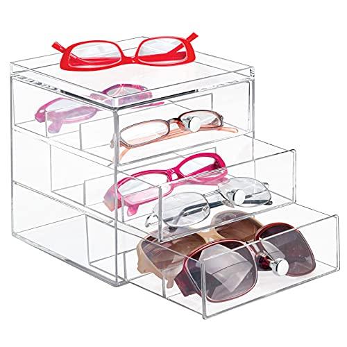 mdesign apilable Organizador para gafas, gafas de sol, gafas de lectura – 3 Cajones, transparente