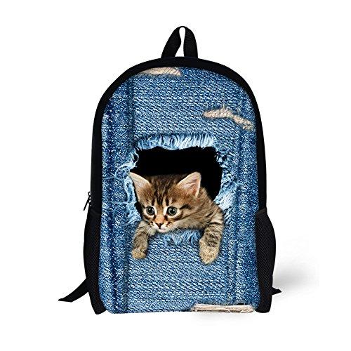 Moolecole Unisex 3D nette Katze / Hund Muster Daypack Rucksack Jungen-Mädchen-beiläufige Schule-Beutel-Rucksack-Karikatur-Muster-Schulter-Beutel Ideal für Schule und Reisen (Cat Small)