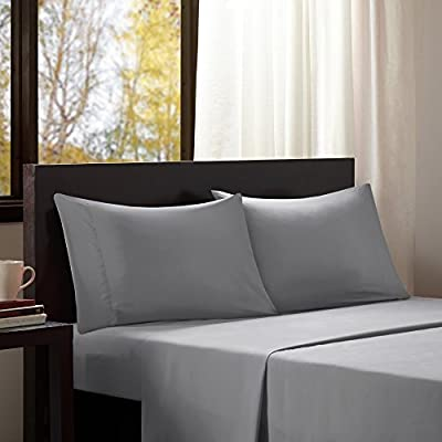 """Intelligent Design Wrinkle Resistant, Soft Sheets with 12"""" Pocket Modern, All Season, Cozy Bedding-Set, Matching Pillow Case, Queen, Microfiber Grey"""