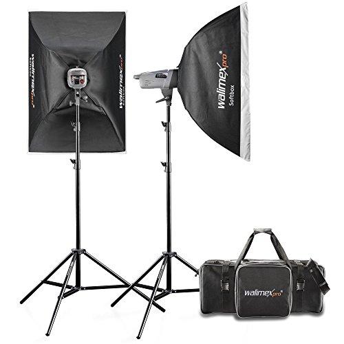 Walimex Pro VE Excellence 4.4 Studioset (inkl. 2x Studioblitzen 400 W mit integriertem Empfänger, 2x Lampenstative, Reflektor und Auslöser)
