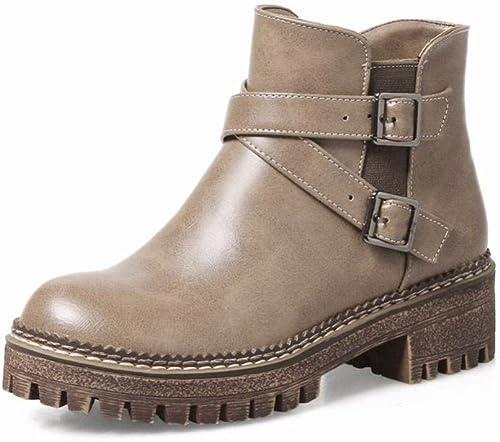 ZHRUI Calzado de damen - Retro británico con Stiefel Cortas de Fondo Grueso Grueso con Stiefel Martin   34-43 (Farbe   Caqui, tamaño   43)