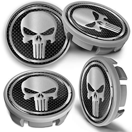 SkinoEu 4 x 65mm Tapas de Rueda de Centro Centrales Llantas Aluminio Tapacubos Compatibles con VW Número de Pieza 3B7601171 / 6U7601171 Gris Plata Cráneo Punisher CVS 10