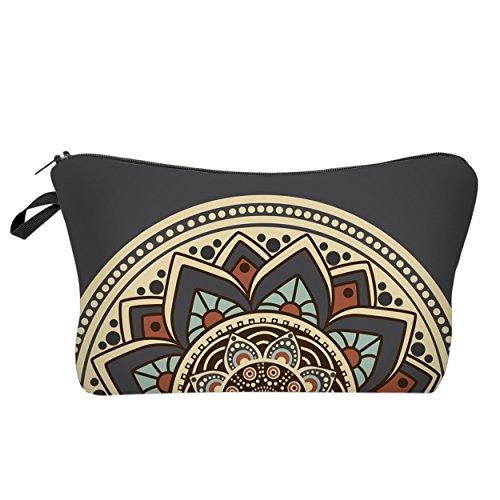 Modische Kulturtasche Kosmetikbeutel Schminktasche Make-Up Bag Kulturbeutel Wasserabweisend Originelle Print-Motive für Reisen, Urlaub und Alltag (Sunrise Mandala)
