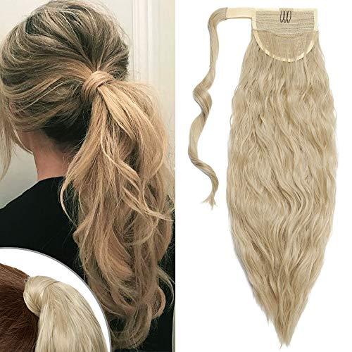 TESS Pferdeschwanz Extensions Blond Ombre Ponytail Hair Corn Wave Zopf Haarteil Clip in Extensions wie Echthaar günstig mit Klettverbindung 20